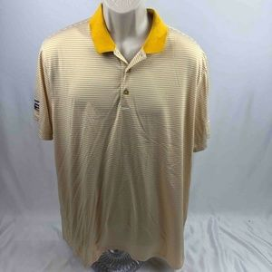 Nike Golf Dri-Fit Mens Polo Shirt Yellow White XL